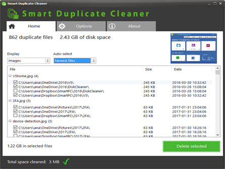 Smart Duplicate Cleaner Results